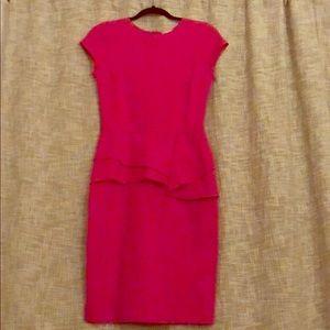 Women's Hot Pink Stretch Knee Length Dress